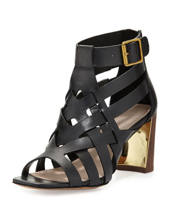 Pandora Leather Cage Sandal, Black