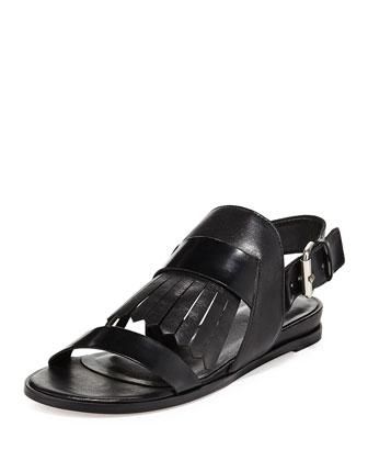 Rowan Kiltie Flat Sandal, Black