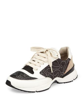 Monilli/Glitter Low-Top Sneaker, Black/White