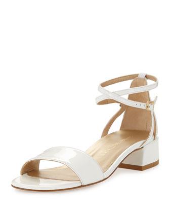 Peewee Patent City Sandal, White