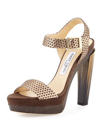 Dora 130mm Pyramid-Embossed Sandal, Nude