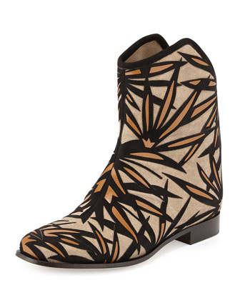 Mina Palm Canvas Bootie, Nude/Black/Canyon