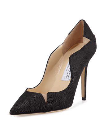 Tamika 100mm Jagged Pump, Black/Nude