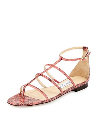 Dory Caged Snakeskin Sandal, Coral Pink
