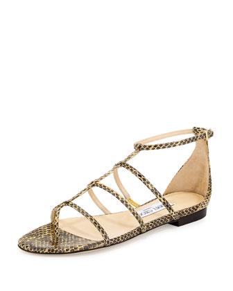 Dory Caged Snakeskin Sandal, Buttercup