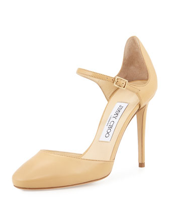 Marny 100mm Leather Mary Jane Pump, Nude