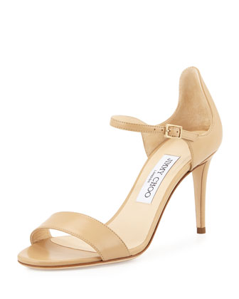 Moxy 85mm Leather Sandal, Nude