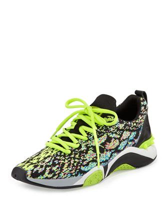 Hit Python-Print Sneaker, Pink/Yellow/Black