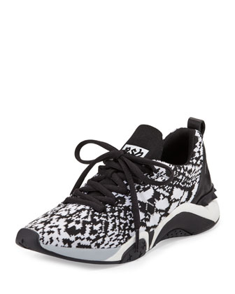Hit Python-Print Sneaker, White/Black