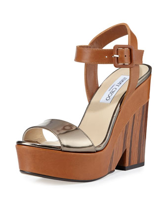 Nico 125mm Platform Wedge Sandal, Canyon/Pyrite
