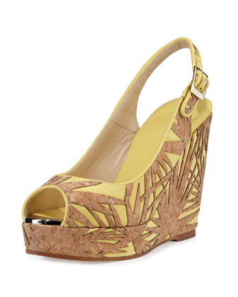Prova Palm Laser-Cut Wedge Sandal, Buttercup