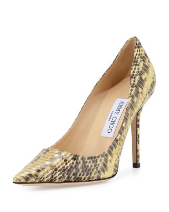 Abel Snakeskin Pointed-Toe Pump, Buttercup