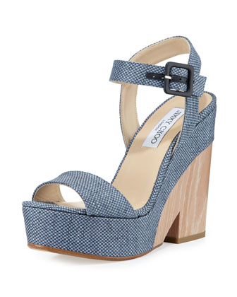 Nico 125mm Platform Wedge Sandal, Navy