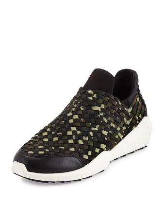 Quartz Camouflage-Print Woven Sneaker, Black/Camo