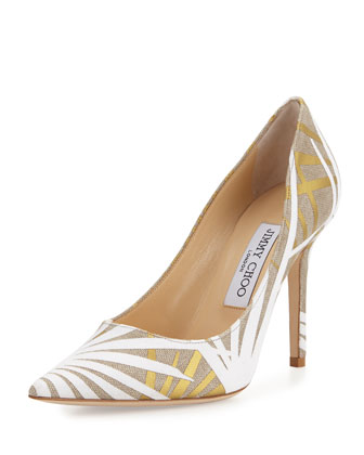 Abel Palm Pointed-Toe Pump, Light Khaki