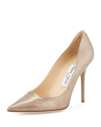 Abel Metallic Pointed-Toe Pump, Sand