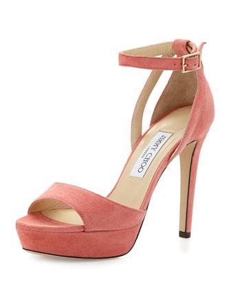 Kayden Suede Ankle-Wrap Sandal, Coral Pink