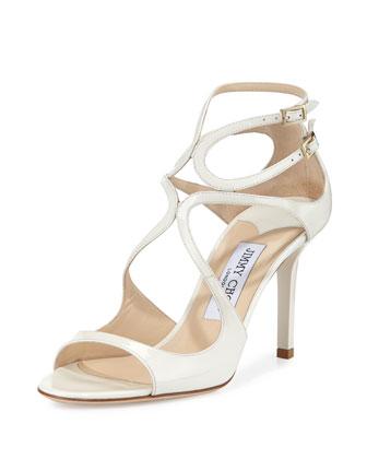 Ivette Strappy Patent Sandal, Latte
