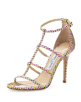 Dory 100mm Polka-Dot Strappy Sandal, Latte Mix