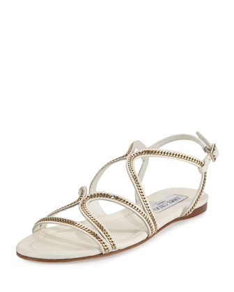 Nickel Chain Strappy Flat Sandal, Latte