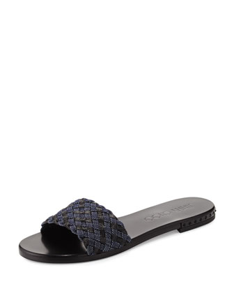 Weave Studded Slide Sandal, Indigo/Black