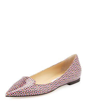 Attila Mod-Print Pointed-Toe Flat, Multi