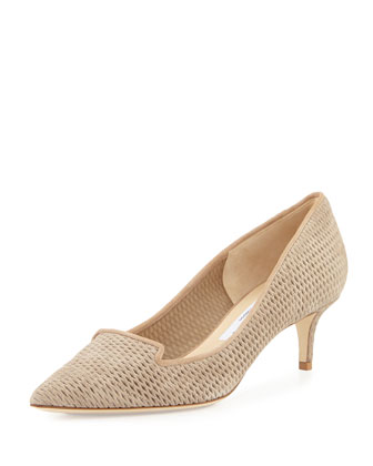 Allure Suede Kitten-Heel Pump, Light Gold