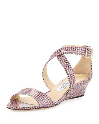 Chiara Mod-Print Crisscross Wedge Sandal, Multicolor