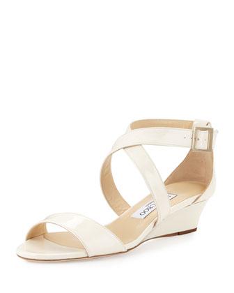 Chiara Patent Crisscross Wedge Sandal, Latte
