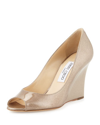 Baxen Glitter Peep-Toe Wedge Pump, Sand