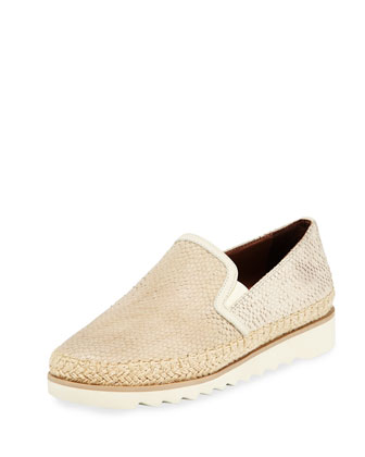 Millie Leather Slip-On Sneaker, Bone