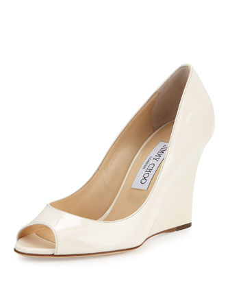 Baxen Patent Peep-Toe Wedge Pump, Latte
