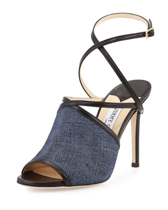 Flora 100mm Leather Crisscross Sandal, Light Indigo/Black