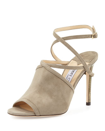 Flora 100mm Suede Crisscross Sandal, Light Khaki