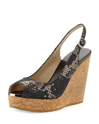Prova Snake-Print Slingback Wedge Sandal, Anthracite