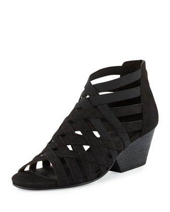 Oodle Caged Leather Sandal, Black