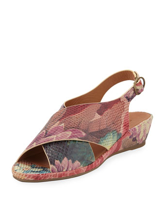 Lilian Crisscross Demi-Wedge Sandal, Multi