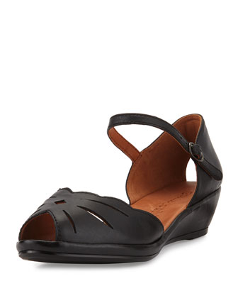 Lilly Moon Demi Wedge d'Orsay Sandal, Black