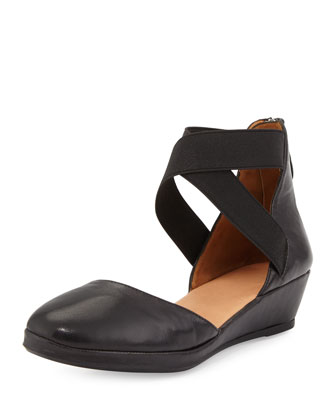Noa Leather d'Orsay Wedge, Black