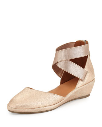 Noa Leather d'Orsay Wedge, Rose Gold