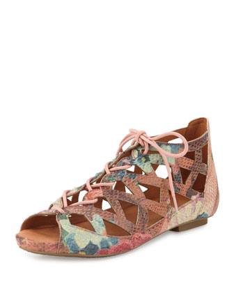 Brielle Lace-Up Cutout Flat Sandal, Multi