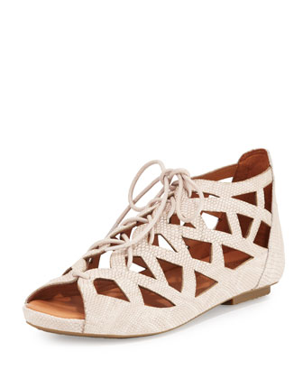 Brielle Lace-Up Cutout Flat Sandal, Nude