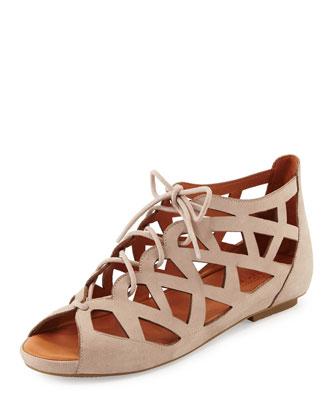 Brielle Lace-Up Cutout Sandal, Mushroom