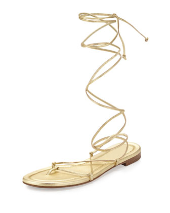 Bradshaw Lace-Up Gladiator Flat Sandal, Pale Gold