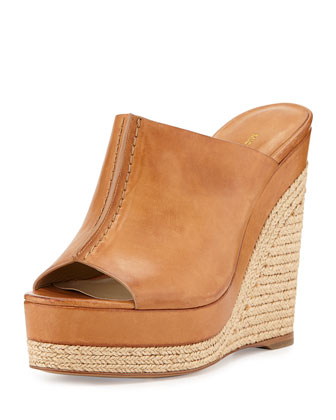 Charlize Leather Wedge Slide Sandal, Suntan