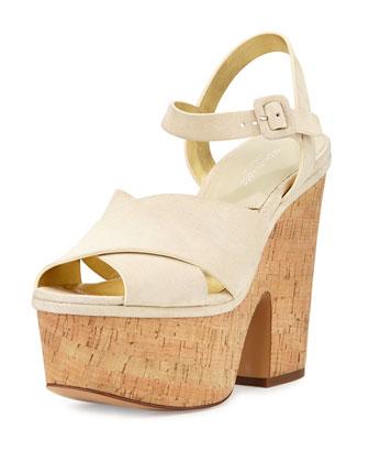 Hilary Suede Platform Sandal, Cream