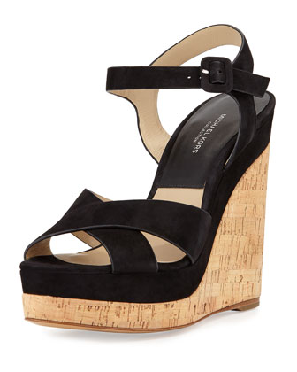 Cate Suede Wedge Sandal, Black