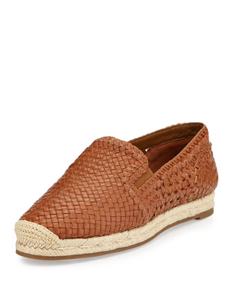 Toni Woven Leather Espadrille Flat, Luggage