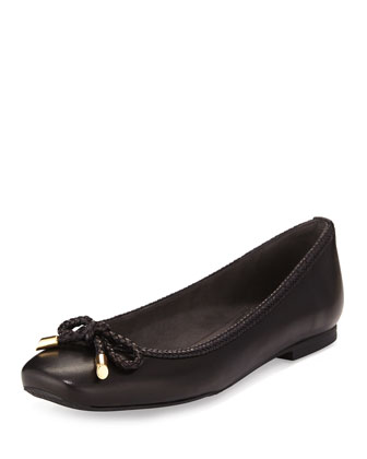 Trumpets Braided-Trim Ballerina Flat, Black