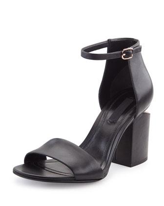 Abby Leather Tilt-Heel City Sandal, Black